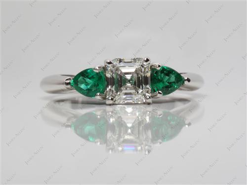 Platinum  Emerald Cut Engagement Rings