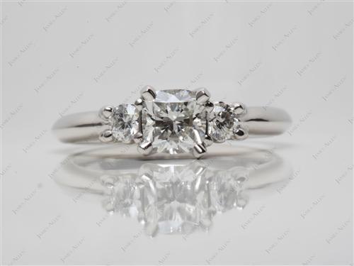Platinum  Engagement Rings Side Stones