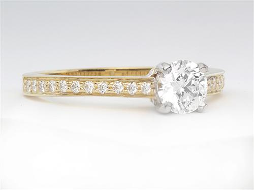 Gold  Engagement Ring Micro Pave