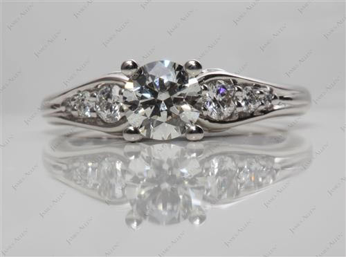 Platinum  Engagement Ring Side Stones