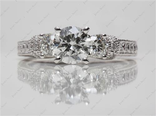 Platinum  Ring With Sidestones