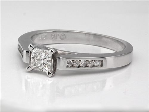 White Gold  Engagement Ring Side Stones