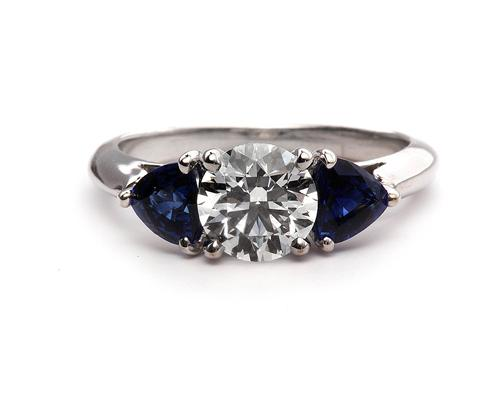 White Gold  Colored Stone Engagement Rings