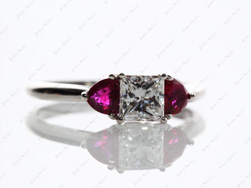 Platinum  Ruby Engagement Ring