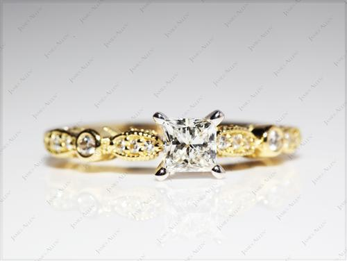 Gold  Engagement Ring Side Stones