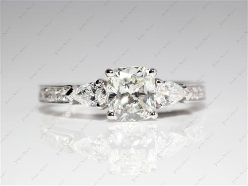 White Gold  Side Stone Engagement Ring