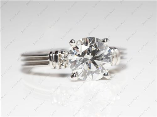 Platinum  Engagement Ring With Side Stones