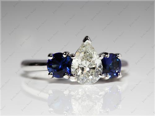White Gold  Colored Gemstone Engagement Rings