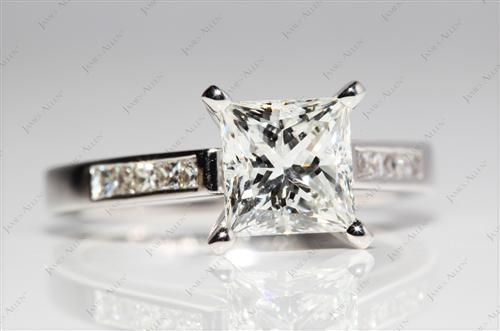 White Gold  Channel Cut Ring