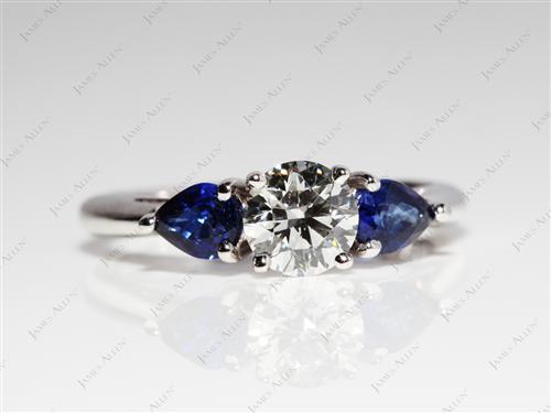 White Gold  Gem Stone Engagement Ring
