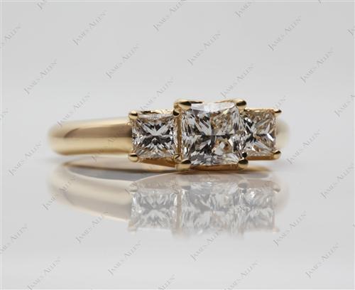 Gold  Three Stones Diamonds Rings