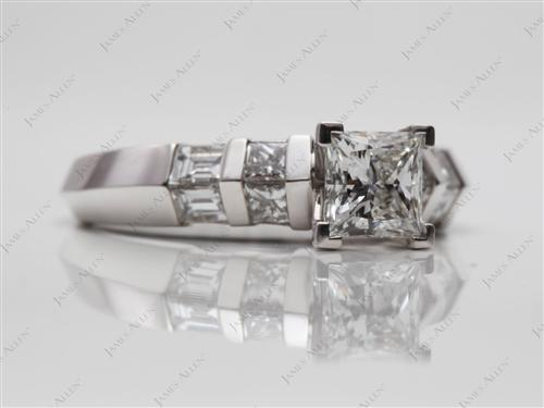 White Gold  Engagement Ring With Side Stones