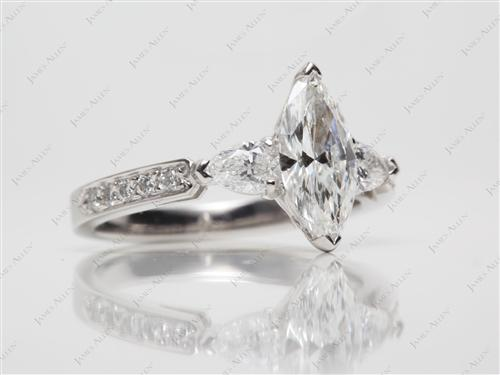 Platinum  Engagement Rings Side Stones