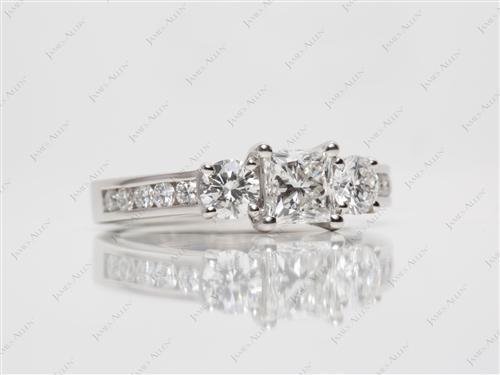 Platinum  Three Stones Ring