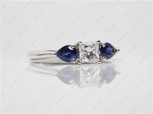 White Gold  Saphire Rings
