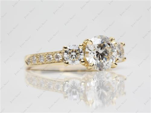 Gold  Side Stone Engagement Ring