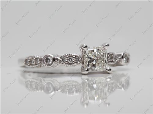 White Gold  Engagement Rings Side Stones