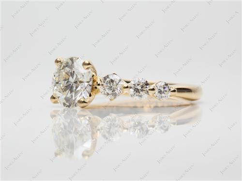 Gold  Sidestone Engagement Ring
