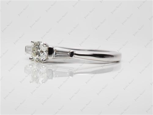 White Gold  Ring With Side Stones
