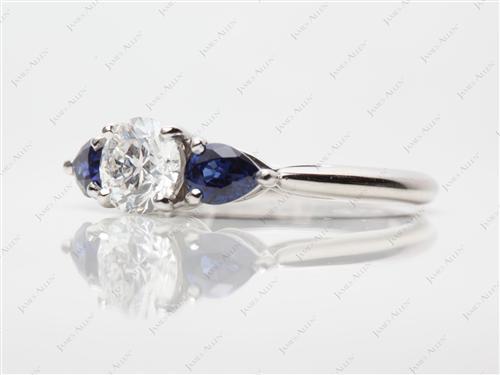 Platinum  Colored Stone Engagement Rings