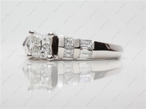 Platinum  Sidestone Engagement Ring