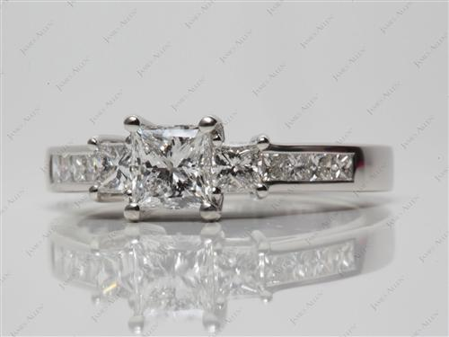 Platinum  Three Stones Diamonds Rings
