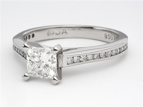 Platinum  Side Stone Engagement Ring