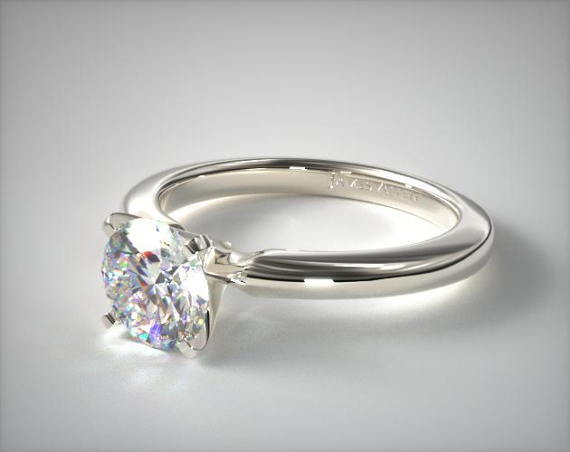 2mm Comfort Fit Solitaire Engagement Ring 18k White Gold
