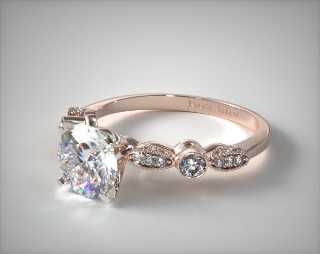 Antique Bezel And Pave Set Engagement Ring 14k Rose Gold
