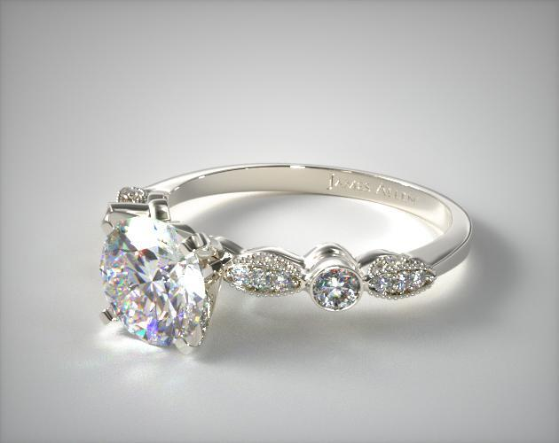 antique bezel and pave set engagement ring