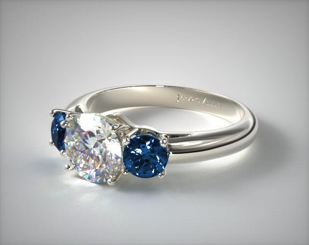 Three Stone Round Blue Sapphire Engagement Ring Platinum