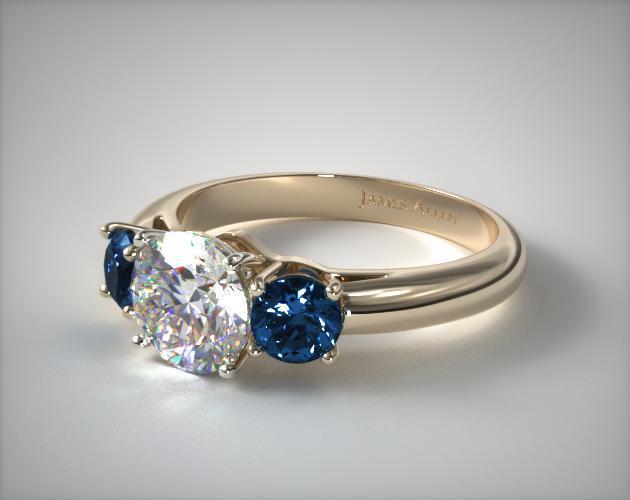Three Stone Round Blue Sapphire Engagement Ring 18k