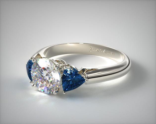 Three Stone Trillion Shaped Blue Sapphire Engagement Ring