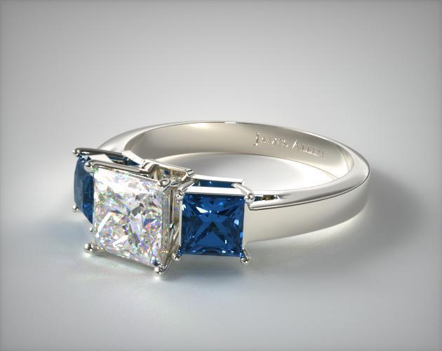 11152W 18k White Gold Three Stone Princess Shaped Blue