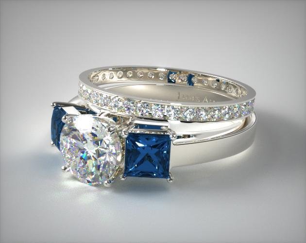 1115214019w Three Stone Princess Blue Sapphire