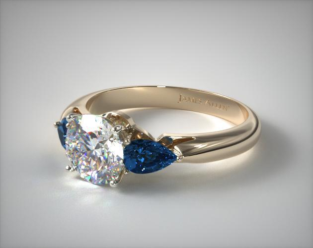 11153y three stone pear shaped blue sapphire engagement