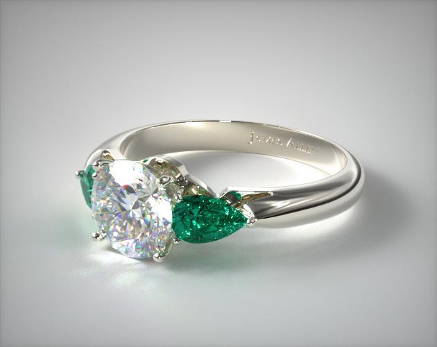 Three Stone Pear Shaped Emerald Engagement Ring 18k