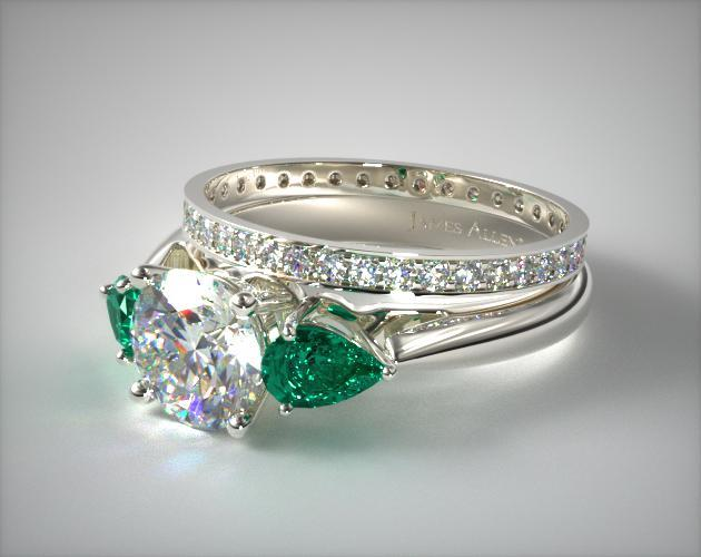 1116114019w Three Stone Pear Emerald Engagement Ring And
