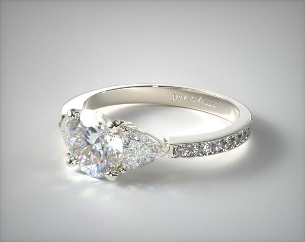 Three Stone Trillion Pave Set Engagement Ring 14k White