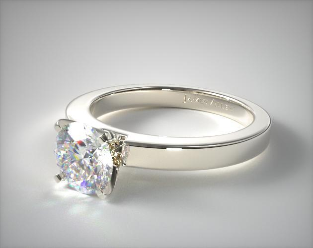 flat wedding rings flat edged solitaire engagement ring 18k white 4097