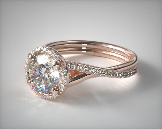 Pave Halo And Twisted Shank Engagement Ring 14k Rose