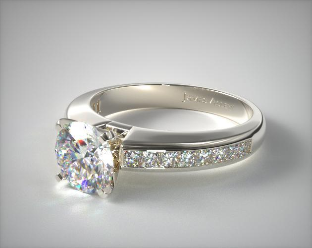 0 60ct Channel Set Princess Shaped Engagement Ring 14k