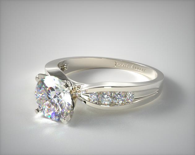 Bow Tie Channel Set Shaped Diamond Engagement Ring 14k