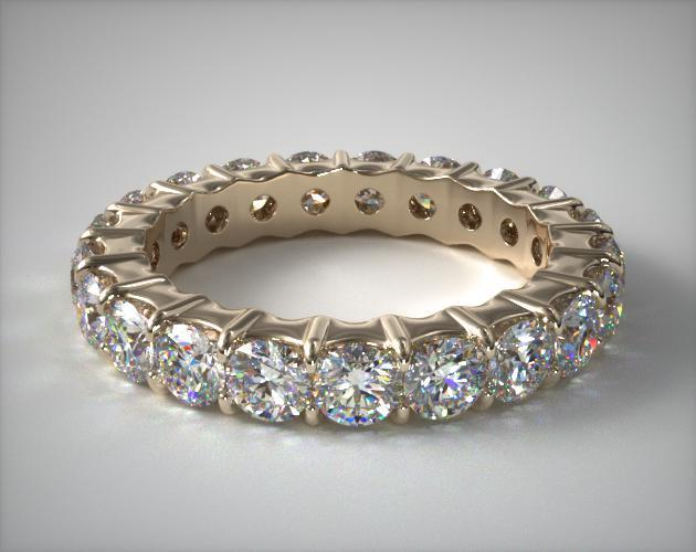 A65Y14 La s 2 00ct Contoured mon Prong Diamond Eternity Ring