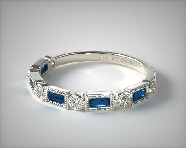 Diamond And Sapphire Baguette Milgrain Ring 14k White