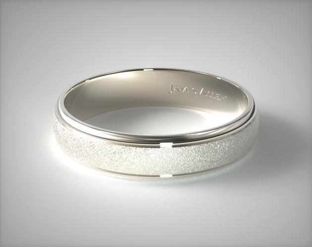 6mm Hammered Comfort Fit Wedding Band 14k White Gold