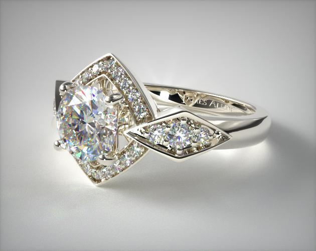Art Deco Geometric Diamond Engagement Ring 14k White
