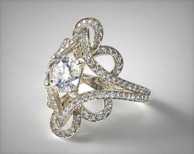 Soft Floral Diamond Engagement Ring 14k White Gold
