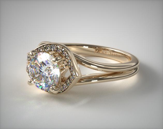 Asymmetrical Diamond Love Knot Engagement Ring 14k