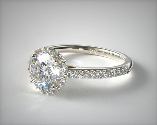 Petite Diamond Halo Engagement Ring 14k White Gold